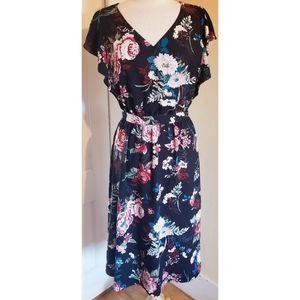 Loft Ruffle Floral Midi Dress